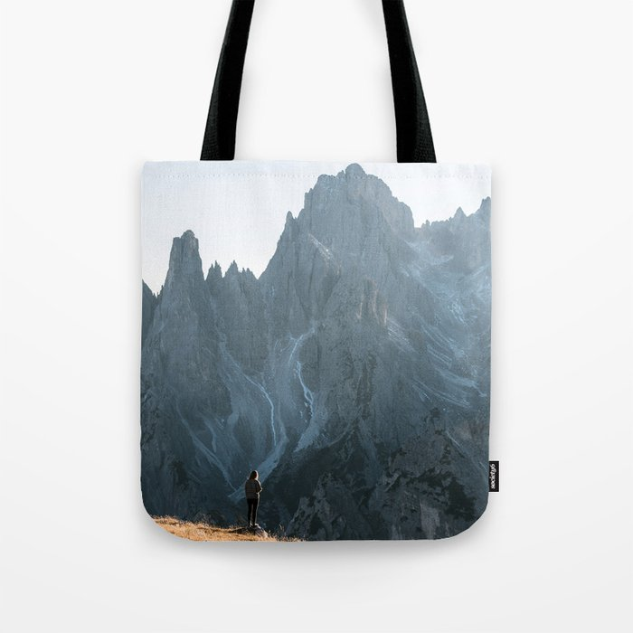 Dolomites mountain range in italy with hiker sunset - Landscape Photography Tote Bag