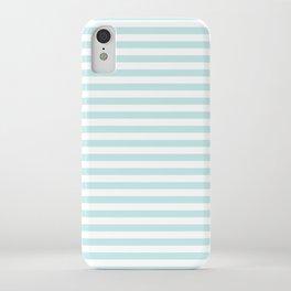 Duck Egg Pale Aqua Blue and White Wide Thin Horizontal Deck Chair Stripe iPhone Case