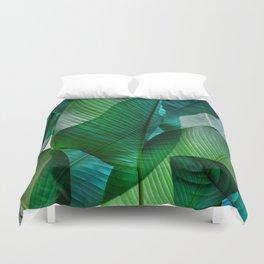 Palm leaf jungle Bali banana palm frond greens Duvet Cover