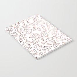 Chic faux rose gold modern diamond pattern Notebook