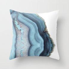 Light Blue Agate Throw Pillow