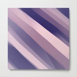 Modern Girly Blue Pink Abstract Stripes Art Metal Print
