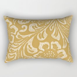 Tan & Cream Tooled Leather Rectangular Pillow