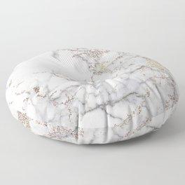 Champagne Rose Gold Blush Metallic Glitter Foil On Gray Marble Floor Pillow