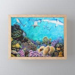 Shiver - Sharks in the Reef Framed Mini Art Print