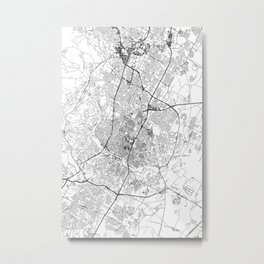 Austin White Map Metal Print