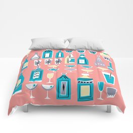 Cocktails And Drinks In Aquas and Pinks Comforters
