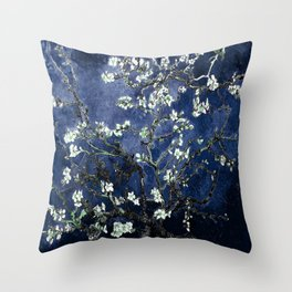 Vincent Van Gogh Almond Blossoms Dark Blue Throw Pillow