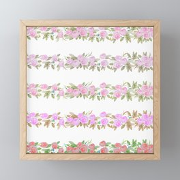 Botanical pink lilac green watercolor floral stripes Framed Mini Art Print