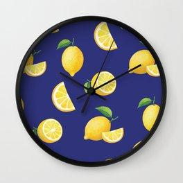Lemons on Navy Wall Clock