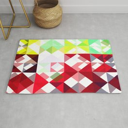 Mixed Color Poinsettias 2 Abstract Triangles 1 Rug
