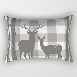 Deer & Birch Grey Plaid Rectangular Pillow
