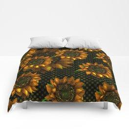 AUTUMN SUNFLOWERS GOLDEN ORANGE YELLOW Comforters