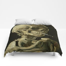 Skull of a Skeleton with Burning Cigarette by Vincent van Gogh Comforters