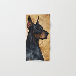 Black and Gold ( Doberman dog ) Hand & Bath Towel