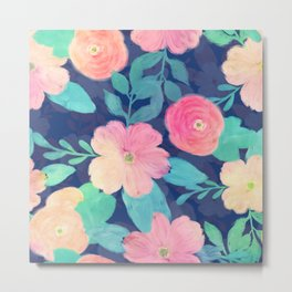 Girly Pink Hand Paint Floral Classic Blue Design Metal Print