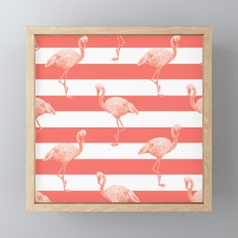 Living Coral Flamingo Stripes II Framed Mini Art Print