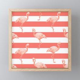 Living Coral Flamingo Stripes II Framed Mini Art Print