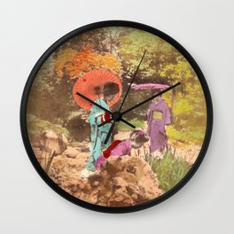 Geisha in the garden Wall Clock