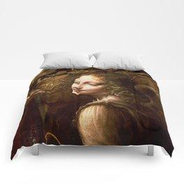 "Leonardo da Vinci Angel in ""The Virgin of the Rocks (London)"" Comforters"
