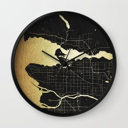 Vancouver Canada Black and Gold Map Wall Clock