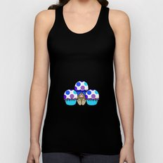 Cute Monster With Blue And Purple Polkadot Cupcakes Unisex Tank Top