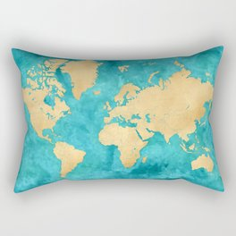 "Teal watercolor and gold world map with countries and states ""Lexy"" Rectangular Pillow"