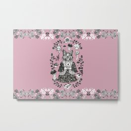 Mystery cat with mushrooms - pink Metal Print