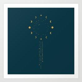 Raining Moon Phases Art Print