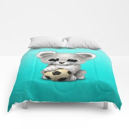 White Lion Cub With Football Soccer Ball Comforters