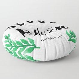 Matthew 28:6 he has risen.Christian Bible verse Floor Pillow
