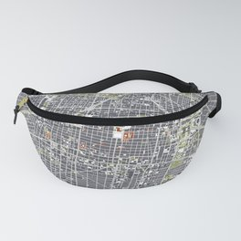 Mexico city map engraving Fanny Pack
