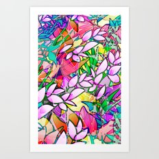 Grunge Art Floral Abstract G130 Art Print