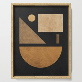 Geometric Harmony Black 03 - Minimal Abstract Serving Tray