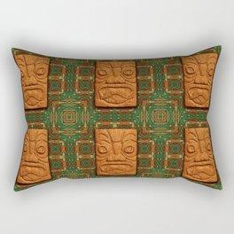 Square Face Tiki Rectangular Pillow