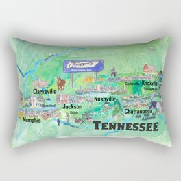 USA Tennessee State Travel Poster Map with Tourist Highlights Rectangular Pillow