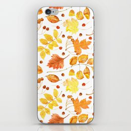 Watercolor autumn leaves seamless pattern on white background. Maple leave, hawthorn leave, birch le iPhone Skin