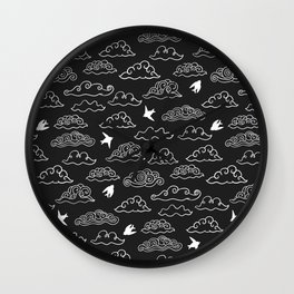 Black Doodle clouds and swallows. Cloudscape pattern with birds. Wall Clock