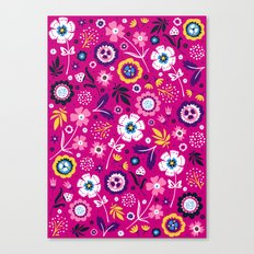 Folk Flowers (Magenta) Canvas Print