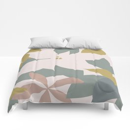 Leafy Floral Collage on Pale Pink Comforters
