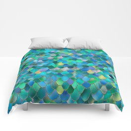 Summer Ocean Metal Mermaid Scales Comforters