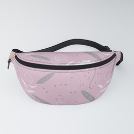 Pink and Gray Floral Feather Pattern Fanny Pack