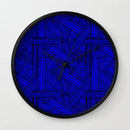 Sketchy Abstract (Black & Blue Pattern) Wall Clock