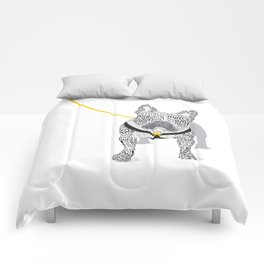 Typographic French Bulldog - Black and White Comforters