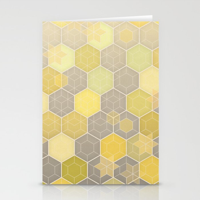 Lemon & Grey Honeycomb Stationery Cards
