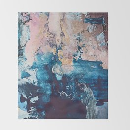 Breathe Again: a vibrant mixed-media piece in blues pinks and gold by Alyssa Hamilton Art Throw Blanket