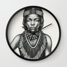 Tribal Girl withGold Foil Jewellery Wall Clock