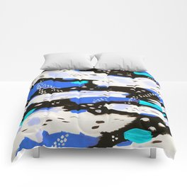 Spotted Abstract in Neon Blue Comforters