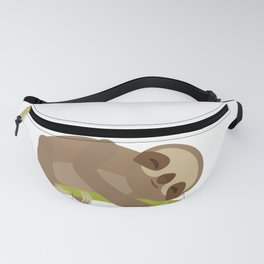 funny and cute Three-toed sloth on green branch Fanny Pack