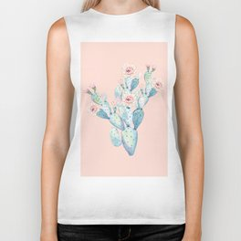 Rose Desert Cactus on Pink by Nature Magick Biker Tank